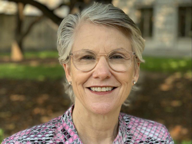 Carolyn Connerat in a pink blazer